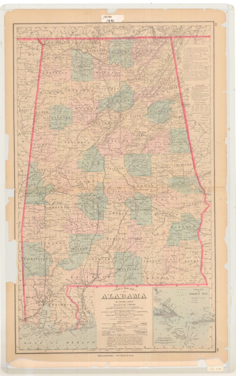 Gray's New Map of Alabama 1878