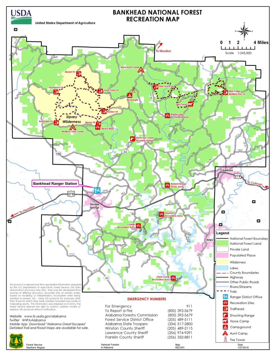 Bankhead Forest Recreation Map