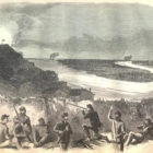 THE SIEGE OF VICKSBURG—VIEW UPON THE EXTREME RIGHT, SHOWING THE MISSISSIPPI RIVER ABOVE AND BELOW VICKSBURG.—SKETCHED BY MR. THEODORE R. DAVIS.