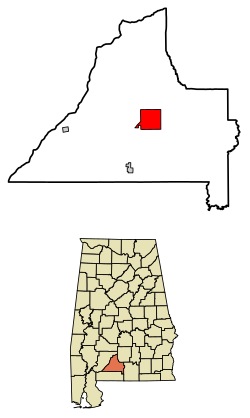 Location of Evergreen in Conecuh County Alabama