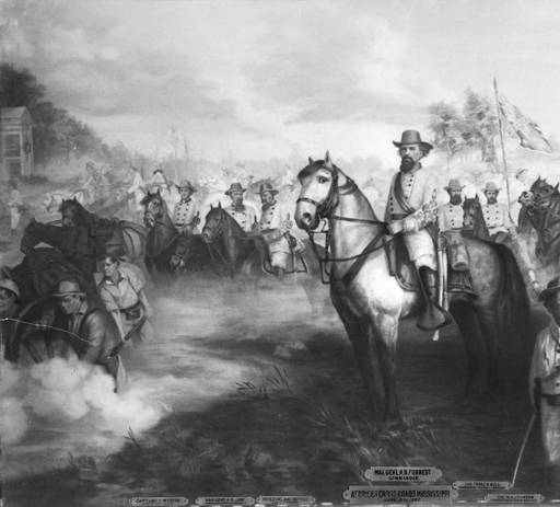 Painting of Major General Nathan Bedford Forrest and his staff at the Battle of Brice's Crossroads in in Lee County, Mississippi. The following members are pictured: Captain John W. Morton; Brigadier General H. B. Lyon; Brigadier General Abe Buford; Colonel Tyree H. Bell; Colonel W. A. Johnson; Colonel Edmund W. Rucker; and Captain H. A. Tyler. Date 1864 June 10