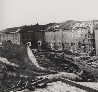 Fort Morgan Eleventh of twelve photographs documenting the bombardment of Fort Morgan, Alabama, by Union troops in August 1864.
