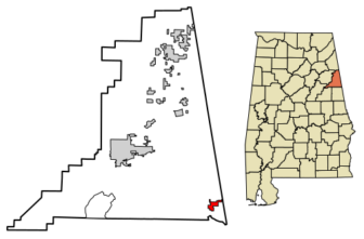 Location of Ranburne in Cleburne County, Alabama.