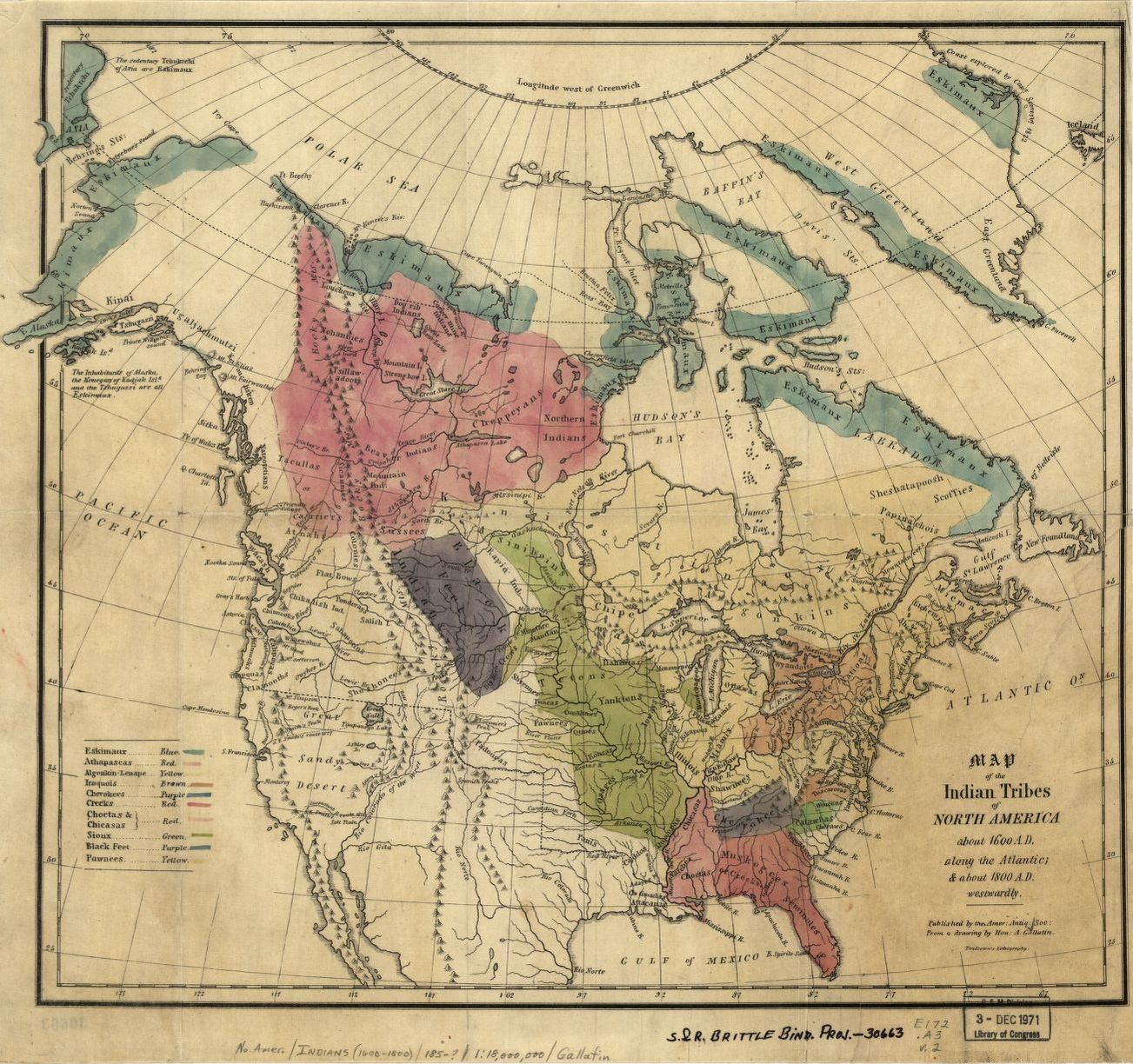 Map of the Indian Tribes of North America about 1600 A.D.