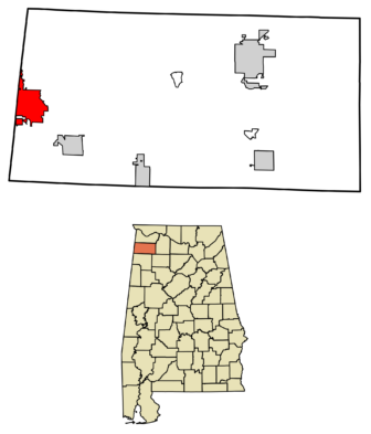 Location of Red Bay in Franklin County, Alabama.