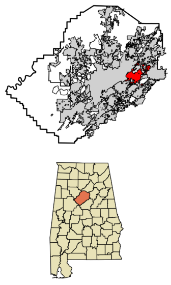 Location of Irondale in Jefferson County, Alabama.