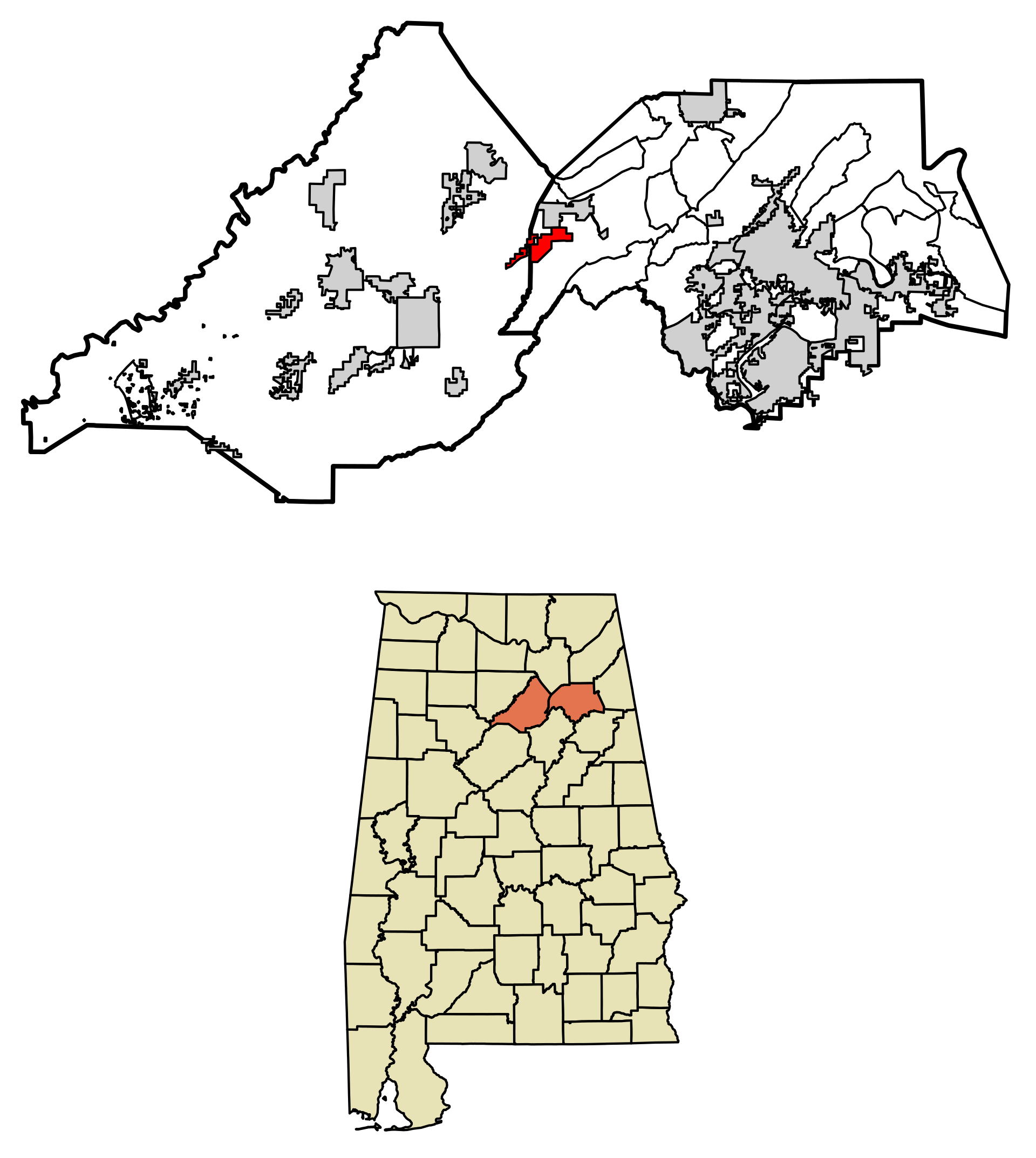 Location of Altoona in Blount County and Etowah County