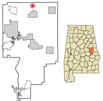 Location of Goldville in Tallapoosa County Alabama