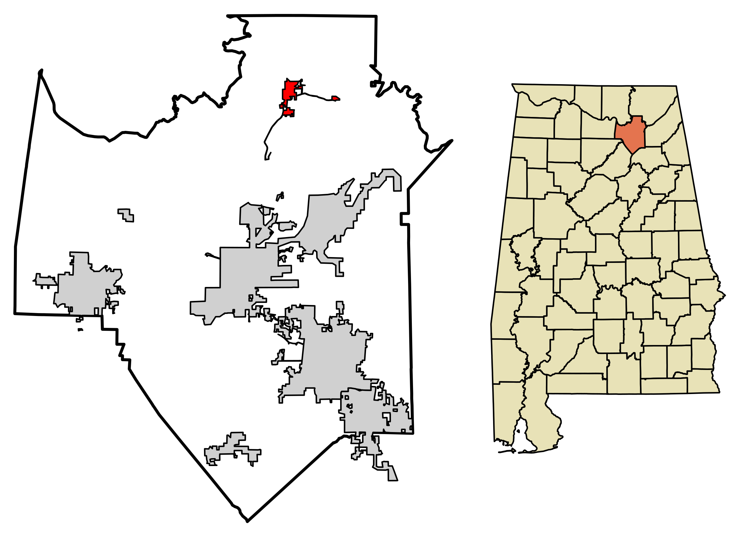 Location of Grant Alabama in Marshall County, Alabama