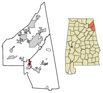 Location of Sand Rock Alabama in Cherokee County and DeKalb County, Alabama