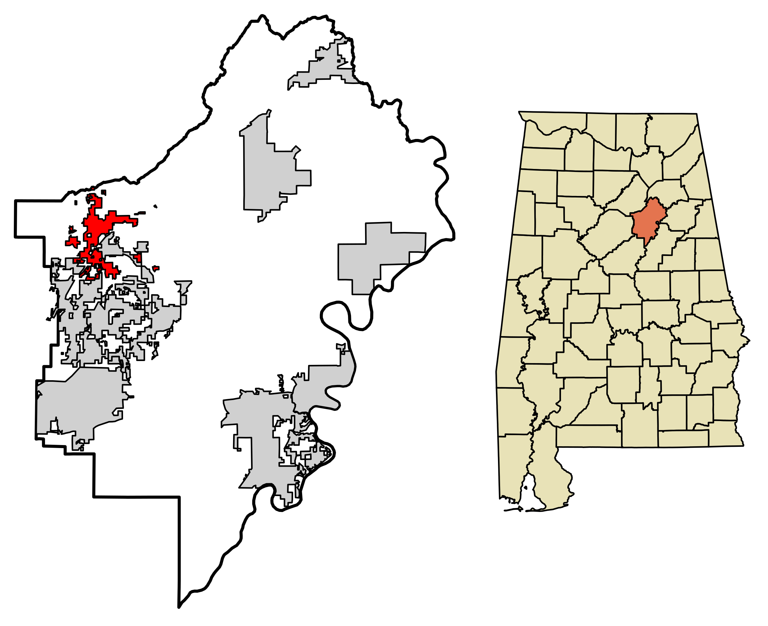 Location of Springville Alabama in St. Clair County, Alabama