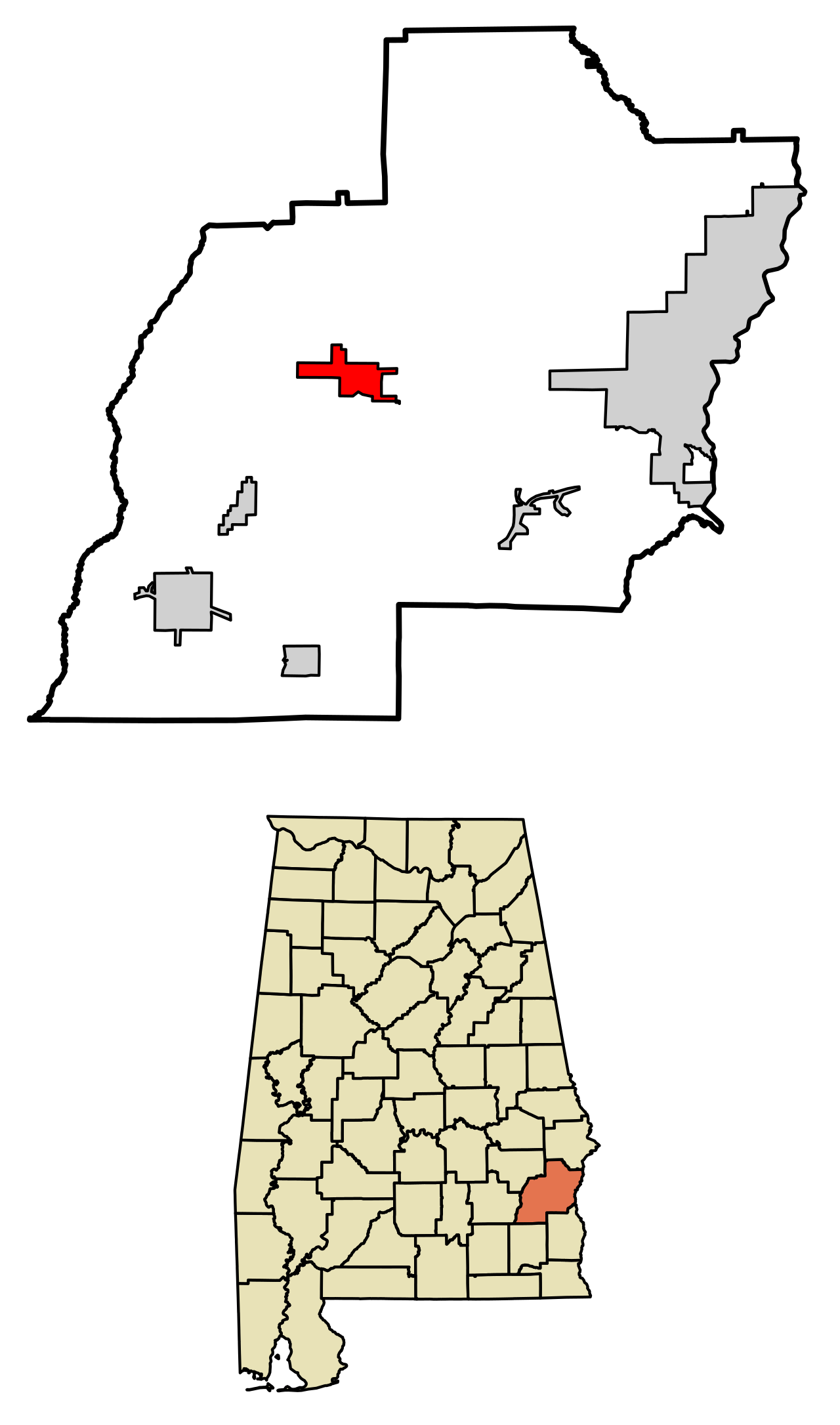 Location of Clayton in Barbour County, Alabama
